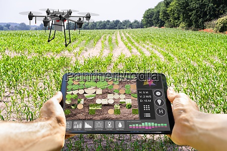 modern smart farming agriculture technology at
