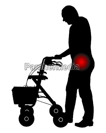 mann mit hueftschmerzen und rollator