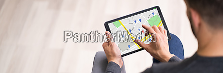 map location search on tablet screen