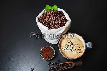 coffee cup beans ground powder