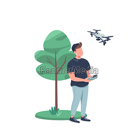 man with drone flat color vector