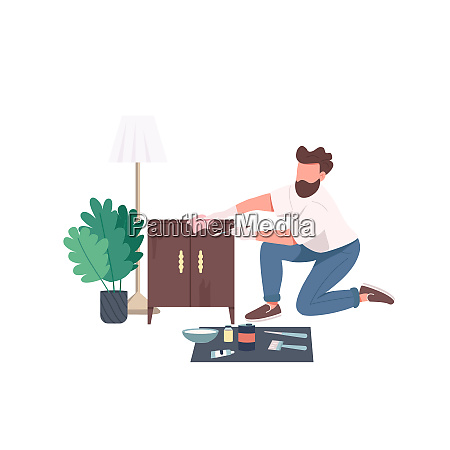 craftsman flat color vector faceless character