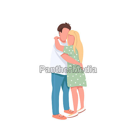 young man and woman flat color