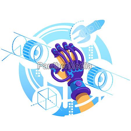 vr glove 2d vector web banner
