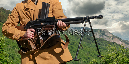 french mountain infantry soldier with machine