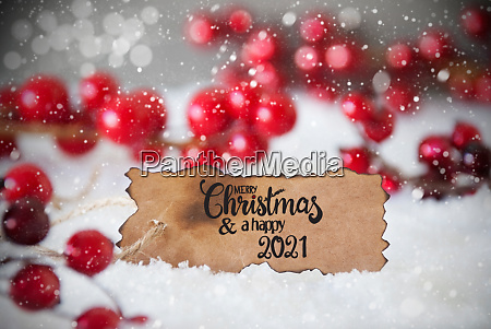 red decoration snow label merry christmas