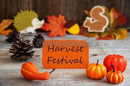 label with autumn decoration text harvest