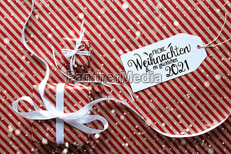 three gifts wrapping paper label glueckliches