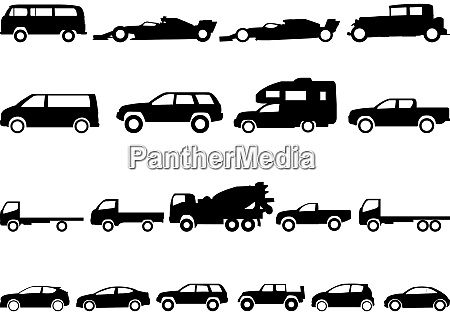 cars collection icons set on white