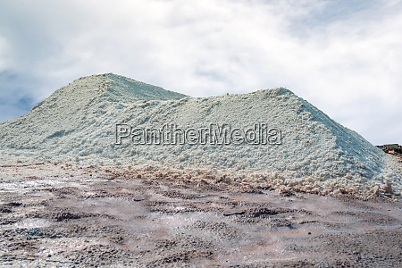 brine salt farm with sky and