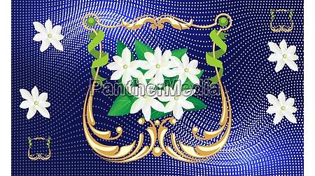 jasmine flower in golden frame on