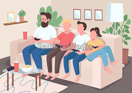 family bonding flat color vector illustration