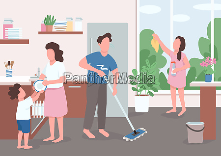 spring cleaning flat color vector illustration