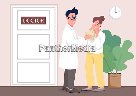 doctor with patient flat concept vector