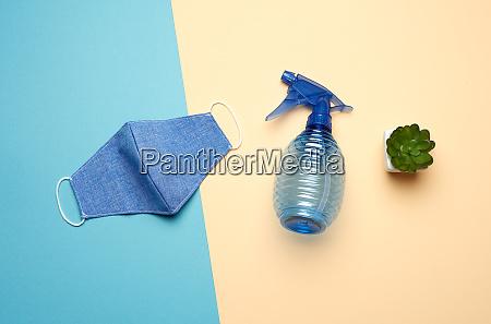 reusable textile mask blue bottle for