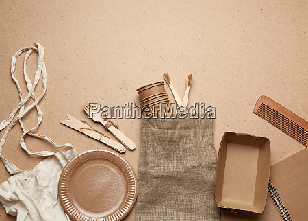 white textile bag and disposable tableware