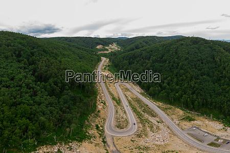 aerial top vew of winding road