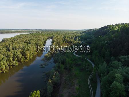 aerial view of big siberian ob