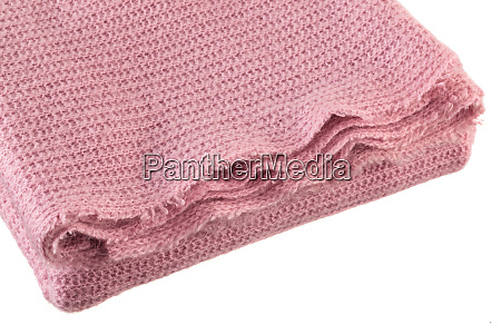 knitted pink blanket