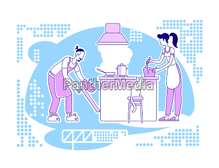 cook together flat silhouette vector illustration