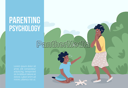 parenting psychology banner flat vector template