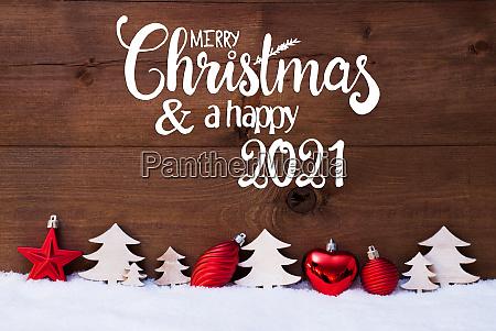 tree red ball snow merry christmas