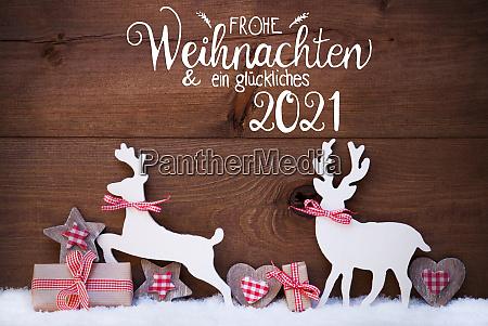 gift deer heart snow glueckliches 2021