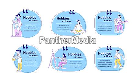 hobbies at home flat color vector