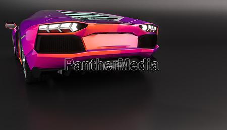 sports car on black rear view