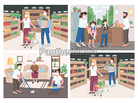 quarantine flat color vector illustrations set