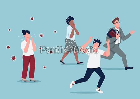 mass hysteria flat concept vector illustration