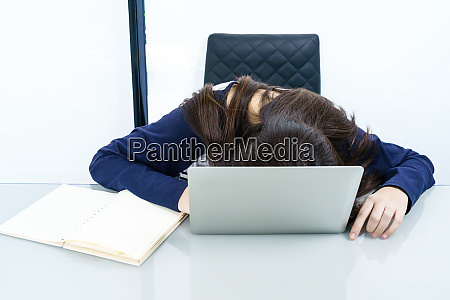 young woman long hair fall asleep