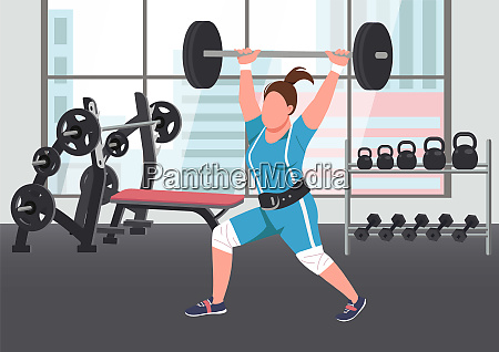 weightlifting flat color vector illustration
