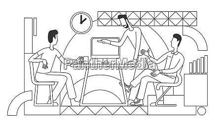 working process thin line vector illustration