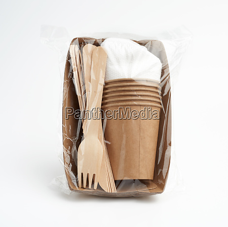 set of disposable tableware from paper