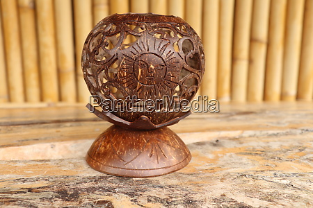 coconut shell carving handicraft of indigenous