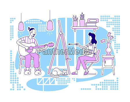 creative hobbies flat silhouette vector illustration
