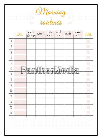 daily routine calendar minimalist planner page