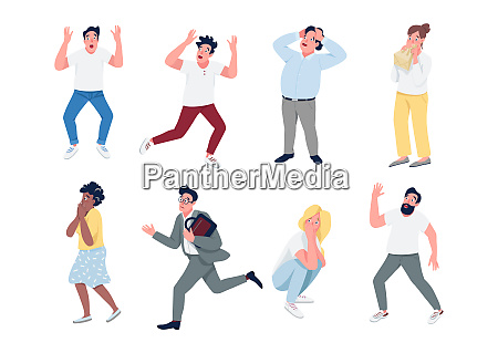 people in panic flat color vector