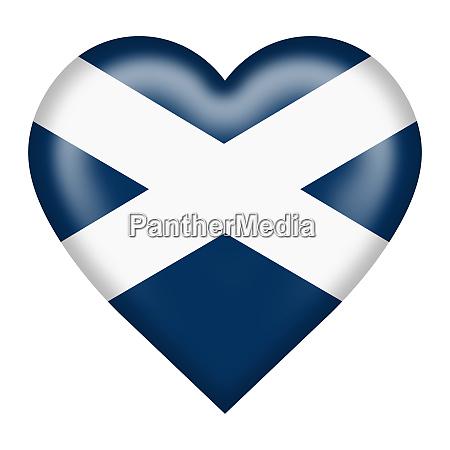 scotland flag heart button isolated on