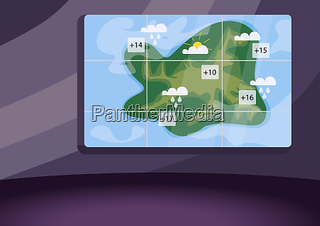 weather forecast studio flat color vector