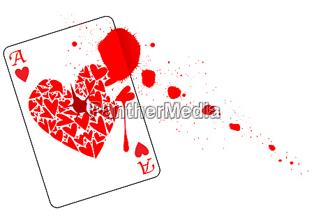 ace of hearts with blood