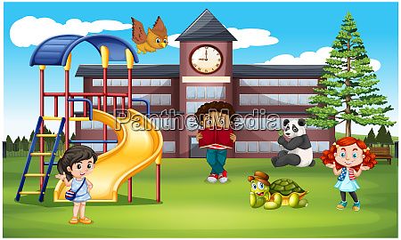 kids are playing with domestic animals