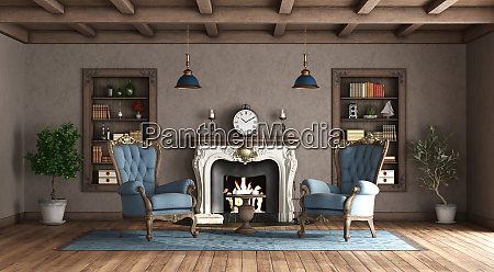 classic style living room with fireplace