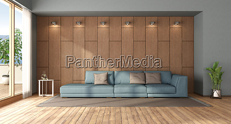 living room with sofa against wooden