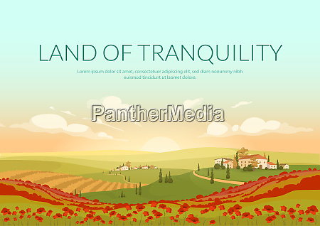 land of tranquillity poster flat vector