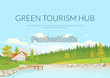 green tourism hub poster flat vector