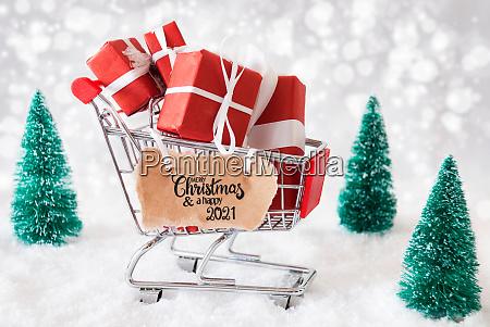 shopping cart christmas gift snow merry