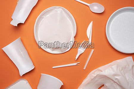 used plastic dishes pieces of plastic