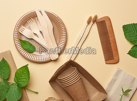 paper plates and cups from brown